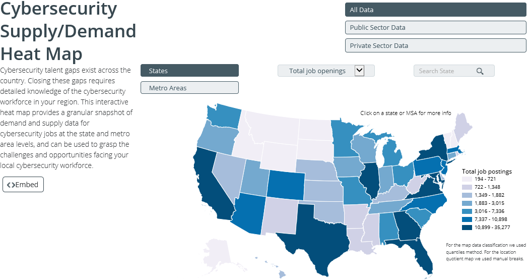 View Cybersecurity Supply and Demand Heatmap